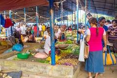 Traditional street market in Sri Lanka. GALLE, SRI LANKA - FEBRUARY 18: Traditional street market in Sri Lanka. Street market is the component of traditional Sri Stock Images