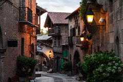 Traditional street of medieval Spanish village at Barcelona town, Catalonia, Spain.  Stock Photography