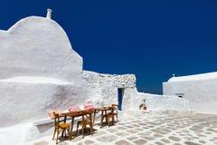 Traditional street of Mykonos island in Greece Royalty Free Stock Photo