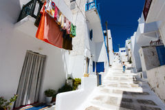 Traditional street of Mykonos island in Greece Stock Images