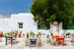 Traditional street of Mykonos island in Greece Royalty Free Stock Photography