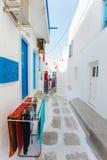 Traditional street of Mykonos island in Greece Royalty Free Stock Photos