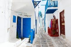 Traditional street of Mykonos island in Greece Stock Image