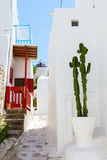 Traditional street of Mykonos island in Greece Royalty Free Stock Images