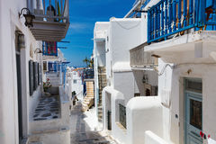 Traditional street of Mykonos island in Greece Stock Photos