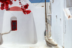 Traditional street of Mykonos island in Greece Stock Photography