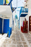 Traditional street of Mykonos island in Greece Stock Photo