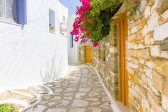 Traditional street in Tinos Island,Greece Royalty Free Stock Photos