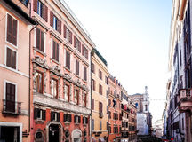 Traditional street view of old buildings in Rome on January 5, 2 Royalty Free Stock Images