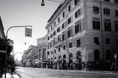 Traditional street view of old buildings in Rome on January 5, 2 Royalty Free Stock Photos