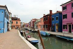 Streets and canals of Burano royalty free stock photography