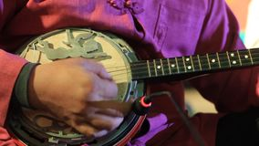Traditional stringed instrument being played as part of a cultural performance in Northern Thailand. Close up details of a traditional stringed instrument being stock video footage