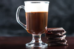 Traditional strong irish coffee on wooden bar Stock Photos