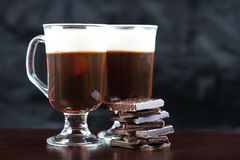 Traditional strong irish coffee on wooden bar Royalty Free Stock Photo