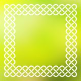 Celtic frame over abstract background. Traditional style braided knot celtic frame over square abstract smooth blur green background Stock Photography