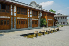 Traditional style buildings in sunny day Royalty Free Stock Photos