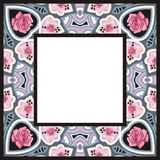 Traditional Style Colorful Paisley Roses Bandana Frame Royalty Free Stock Images