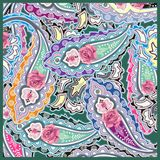 Traditional Style Colorful Paisley Roses Bandana . Royalty Free Stock Images