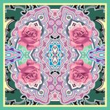 Traditional Style Colorful Paisley Roses Bandana Stock Photography