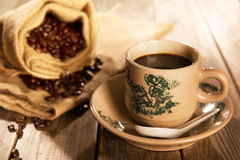 Traditional style Hainan coffee in vintage mug Royalty Free Stock Image