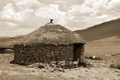 Traditional style of housing in Lesotho Royalty Free Stock Photography