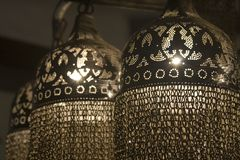 Traditional Style Lamp - Arabia. Traditional lamp design with modern lighting... Metal work with chains Stock Photos