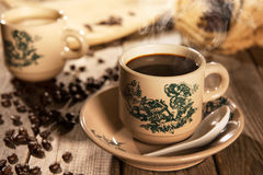 Traditional style Nan Yang coffee in vintage mug Stock Photo
