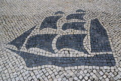 Traditional style Portuguese Calcada Pavement for pedestrian area in Macau, China Stock Photography