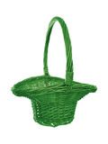 Traditional style round basket with handle. Royalty Free Stock Photos