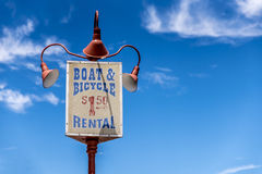 Traditional style seaside, boardwalk sign, against a deep blue sky Royalty Free Stock Images
