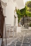 Greek taverna on the narrow streets royalty free stock image