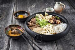 Free Traditional Sukiyaki Pot With Kobe Beef And Vegetable On A Rustic Wooden Board Stock Images - 217130084