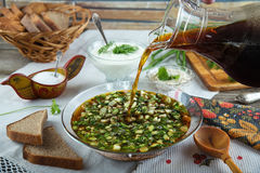Traditional summer cold soup okroshka with kvass stock photos