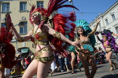 Traditional summer samba carnival in Helsinki on 7-8 June 2013. Royalty Free Stock Images