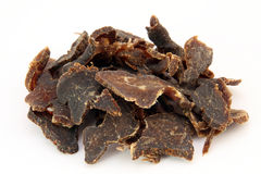 Traditional sun dried South African beef biltong meat stock photo