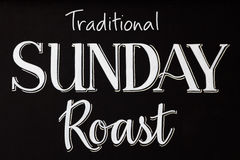 Traditional sunday roast on a chalk board Royalty Free Stock Photos