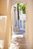 Traditional sunny street at small Emporio town in Royalty Free Stock Images