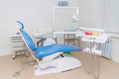 The traditional surgery room at the orthodontist clinic. Classic surgery room at the orthodontist clinic royalty free stock photo