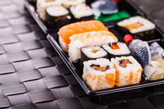 Traditional sushi box Stock Images