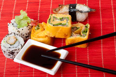 Traditional sushi and rolls. Japanese food. Traditional sushi and rolls Royalty Free Stock Image
