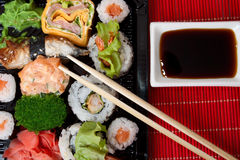 Traditional sushi and rolls. Japanese food. Traditional sushi and rolls Royalty Free Stock Photo