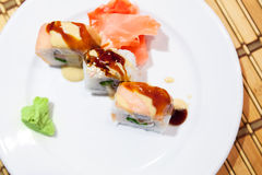 Traditional sushi rolls with salmon, top view Royalty Free Stock Photography