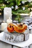 Traditional swedish bun in christmas setting Royalty Free Stock Photos