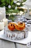 Traditional swedish bun in christmas setting Royalty Free Stock Image
