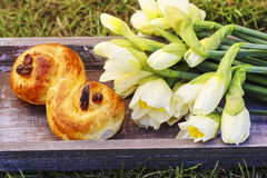 Traditional swedish bun on wooden tray Royalty Free Stock Photo