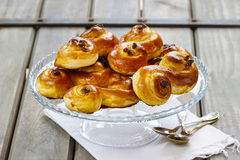 Traditional swedish buns in autumn setting Royalty Free Stock Photos