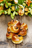 Traditional swedish buns in autumn setting Stock Photos
