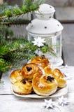 Traditional swedish buns in christmas setting Stock Photo