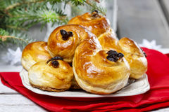 Traditional swedish buns in christmas setting Stock Images