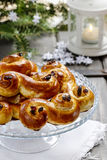 Traditional swedish buns in christmas setting Royalty Free Stock Images